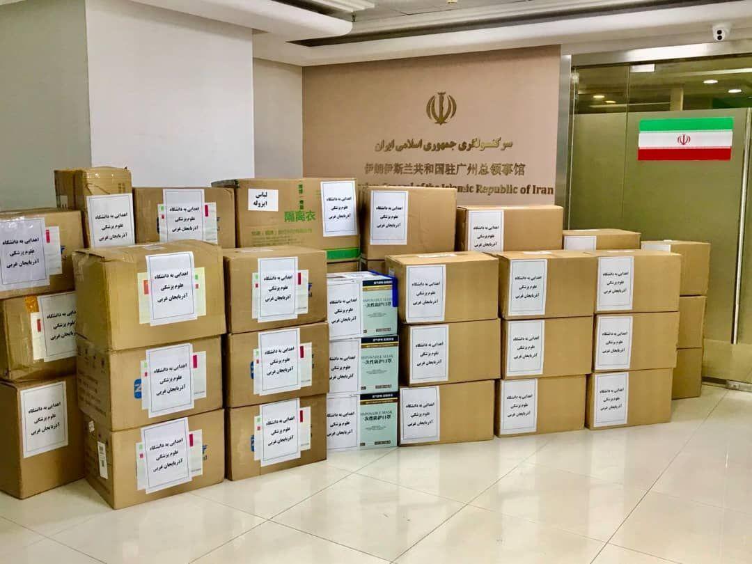 خبرنگاران محموله دوم اقلام پزشکی کنسولگری ایران در گوانجو تحویل آذربایجان غربی شد