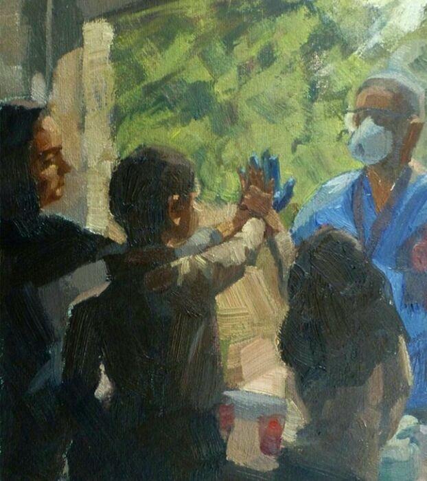 خبرنگاران نقاشان انگلیسی به احترام کادر درمان دست به کار شدند